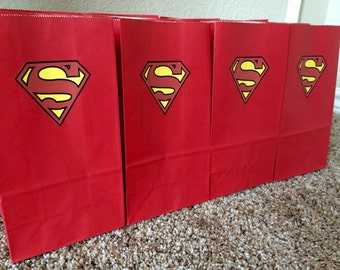 Superman inspired small favor bags, set of 12! Superman inspired goody bags