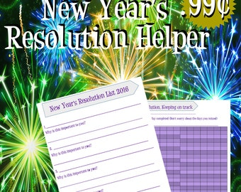 Purple New Years Resolution Printable