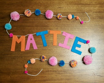 New! Custom Name Pompom Garland || Kid's Room Decor || Baby's Room Decor