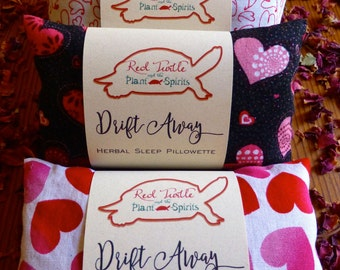 Love Themed Herbal Sleep Pillow with Rose, Chamomile, Lavender and Hops, 3x5 inches