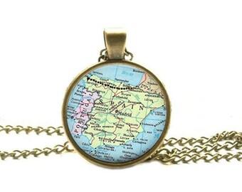 Spain map necklace, Spain map pendant Spain pendant Spain necklace map jewelry map jewellery