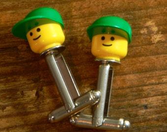 Mens Lego Cufflinks - Silver Back Cufflinks With Lego Head and Cap - MLB Baseball Cap Unique Handmade Cufflinks