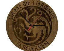 Game of Thrones Wall Clocks featuring House Stark and House Targaryen Crests Direwolf and Dragon John Snow and Daenerys Mother of Dragons