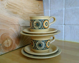 "Kiln Craft ""Bacchus"" 2 x Cups, Saucers & Side Plates SECONDS Retro 70's Ironstone Coffee or Tea Cups Staffordshire Potteries Made in England"