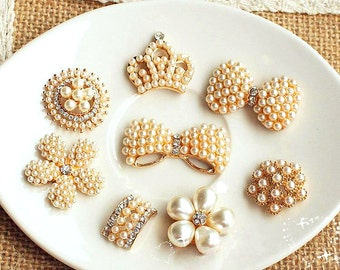 8 Assorted Rhinestone Crystal Flatback Button Brooch Flower Pearl Rose Gold Napkin Ring Hair Clip Embellishment Jewelry Supplies R01
