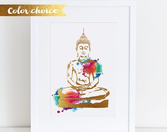 Buddha Printed  size choice Silver or Gold effect Buddha Wall Art Yoga Watercolor Buddha Print Yoga Poster Buddha Poster zen wall art