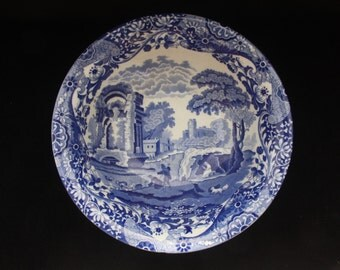 Elegant Vintage Spode Blue Italian Serving or Display Bowl 9.5""