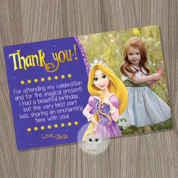 Rapunzel Thank You Card Tangled Thank You Card Tangled Birthday