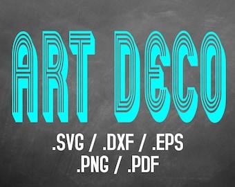 Art Deco Font Design File, Silhouette Studio, Cricut Design, Brother Scan Cut, Scal, DXF Files, SVG Font, EPS Files, Svg Font, Art Deco Font