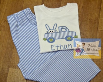 Boys Easter bunny Truck Shirt- Toddler boys Easter truck Shirt- Baby Boys Easter Shirt- Easter Short Set- 6m, 12m, 18m, 2t, 3t, 4t, 5, 6