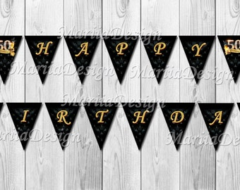 50th birthday Banner, 60th Banner, 70th Banner - Adult Birthday Party Banner, Anniversary Banner - ONLY FILE
