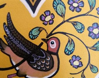 Bower Bird (May 2016) - Fraktur Inspired Folk Art Linocut Print