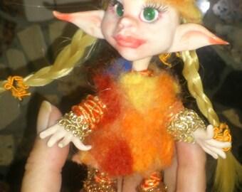 OOAK Miniature Fairy Elf Fiffi ,Troll, Gnom, Pocket Fairy