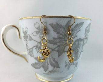 Om Earrings - Antique Gold Om Charm Earrings - Om Symbol Earrings  - Ohm Earrings - Eastern Jewelry