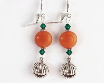 Fall Pumpkin Earrings, Halloween Earrings, Fall Festive Jewelry, Orange Beaded Earrings with Sterling Silver Pumpkins