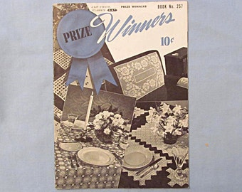 Crochet Patterns Booklet 'Prize Winners', Placemats, Chair Sets, Bedspread, Curtains, Runner, 1949