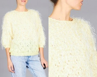 ON SALE Vintage Medium / Large Pale Yellow Hairy Knit Lurex Sweater