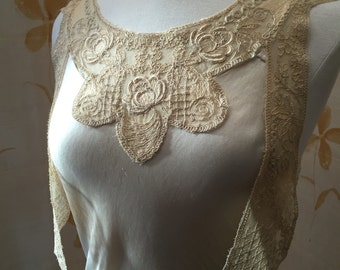 1920s flapper alencon lace embroidered collar with lappets dress adornment