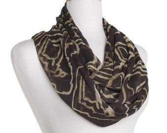 Chiffon Infinity Scarf / Brown Print Eternity Scarf / Gift for Her / Womens Ladies Circle Loop Scarves / Mothers Day / Spring Summer Fashion