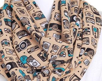 Camera Print Infinity Scarf / Beige Vintage Retro Eternity Scarf / Birthday Present / Pretty Gifts for Her / Womens Ladies Circle Loop Scarf