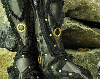 Ninja Fairy Black Leather Boots - Flower of Life by Pleiadian