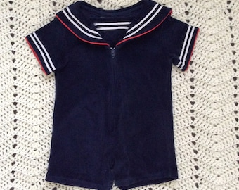 Sailor Terry Cloth Romper 12 Months