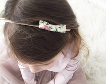 Betty Rose Floral Fabric Mini Bow on Nude Nylon Headband or Alligator Clip, Hair Clip, Girls, Baby Girl, Toddler