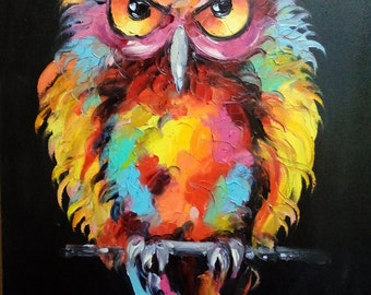Owl painting, oil painting of owls , owls painting by kampon