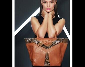 Sale ! Christmas sale !Caramel leather bag,top handle bag, brown leather totes, brown shoulder bag,large leather bag, large totes ,snake bag