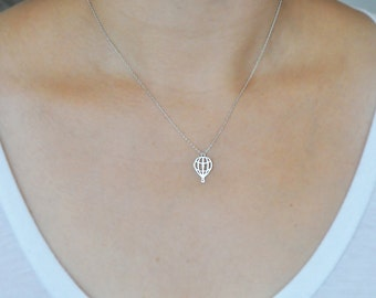 Silver Hot Air Balloon Necklace in Sterling Silver 925, Hot Air Balloon Necklace, Hot Air Balloon, Balloon Necklace,  Silver Hot Air Balloon