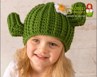 Crochet Cactus Hat, Crochet Saguaro Cactus Hat for Girls or Boys - Size: 3-5 years - Ready to Ship