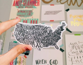 USA Map Sticker