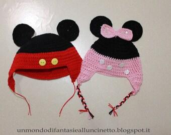 Baby hat crochet Minny e Topolino