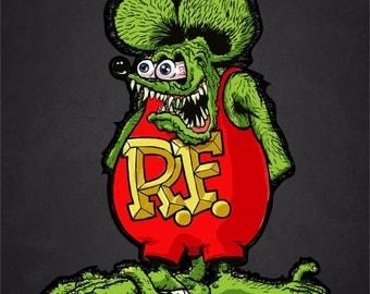 "1 - 4"" x 5"" Rat Fink Ed Roth Vinyl Decal"