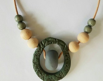 Green and grey clay pendant necklace.