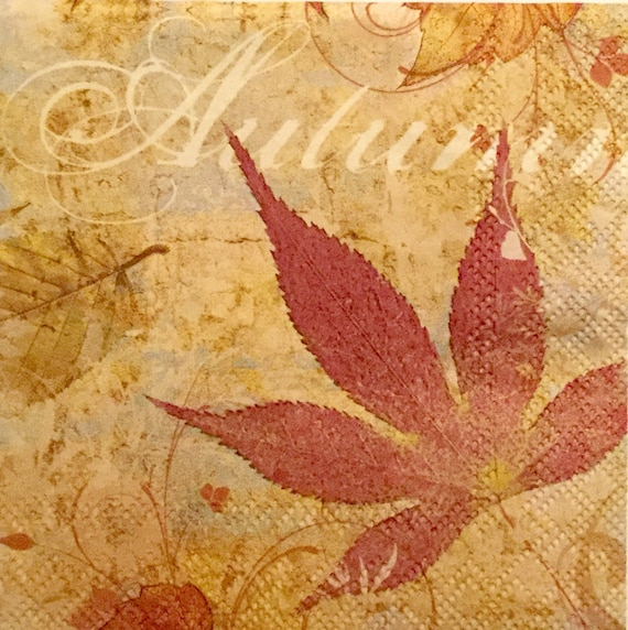 3 Decoupage Beverage Napkins Autumn Fallen Leaves 10 Quot X
