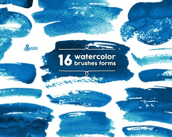 Watercolor Brushes Indigo 16 Digital files. Hand painted, brush strokes, forms, shapes, delft, splotch, clipart, watercolour, background