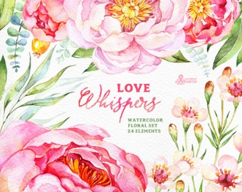Love Whispers: 24 Watercolor Floral Elements, peonies, wedding invitation, valentine, diy clip art, flowers clipart, romantic, pink, jasmine
