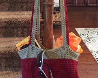 Crocheted tote bag market bag errand bag beach bag sports bag messenger bag purse