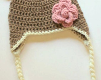 Crocheted Bear Hat with flower
