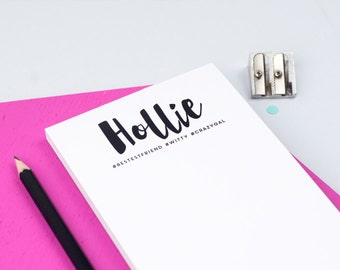 Name Notepad - #Hastag Notepad - Personalised Stationery - Planner - To Do List