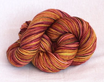 Merino Silk DK Yarn - Hand Dyed - Bronzed Potpourri in coppers, brass and plum