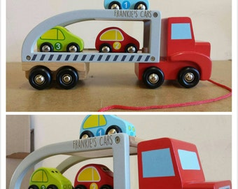 Wooden Car Carrier pull along toy - 00052