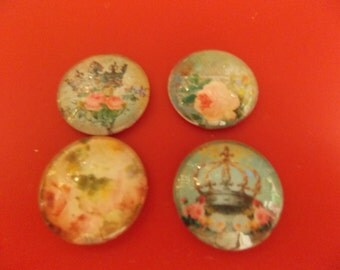 """1"""" Glass Cabochon with Vintage Images, Set of 4,  Lot C"""