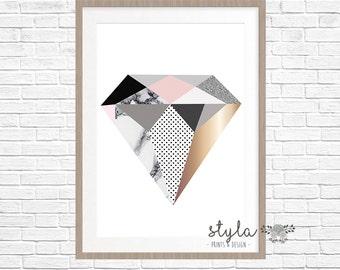 Diamond Marble & Copper/Pastel Pink Print