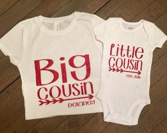 Big Cousin Little Cousin Shirt Set - with personalization or due date