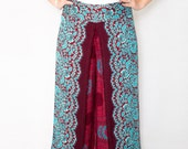 Peacock Mandala Butterfly Palazzo Pants in Red Blue