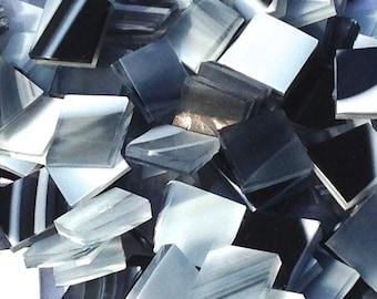 Black Gray Opal Clear Swirl Glass Mosaic Tiles