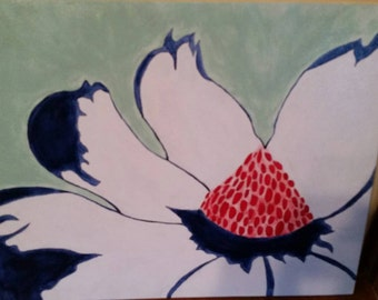 Flower acrylic painting on canvas flat