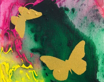 Original Butterfly Painting in Green Pink and Yellow Acrylic 6x6 Canvas